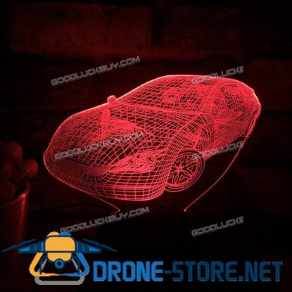 Acrylic 3D Car 7 Color Changing Night Light USB Touch Desk Table Lamp Xmas Gift