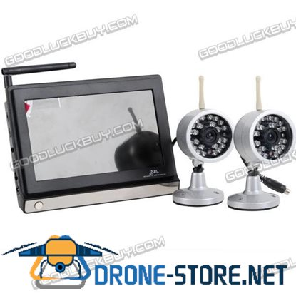 2.4GHz Wireless NTSC CMOS 2 Camera & 7 inches Baby Monitor Security System