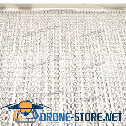 Metal Aluminium Chain Fly Pest Insect Door Screen Curtain Control Silver 90cm*210cm