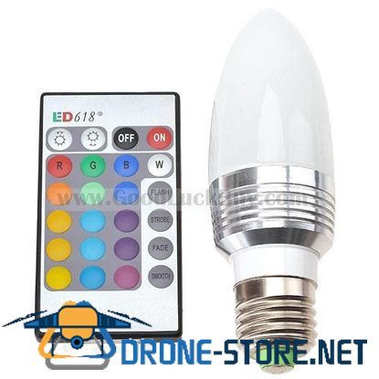 3W RGB LED Bulb Light E27 110-120V Multi Color with Remote Control