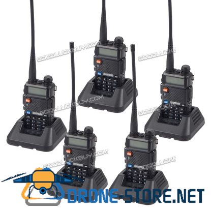 Baofeng UV-5R V/UHF 136-174/400-520M Dual-Band Two-way Ham Radio Walkie Talkie 5pcs