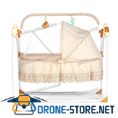 Electric Kids Baby Crib Cradle Infant Rocker Auto-Swing Sleep Curtain Bed Cots Brown
