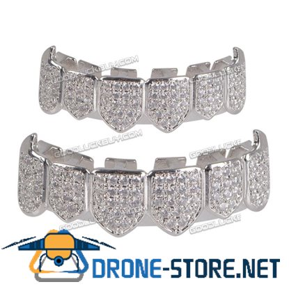 18K Plated Top & Bottom Teeth Grillz Mouth Grills High Quality Silver