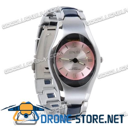 Stainless Steel Quartz Wrist Watch Lady Gift Waterproof Ellipse 3078