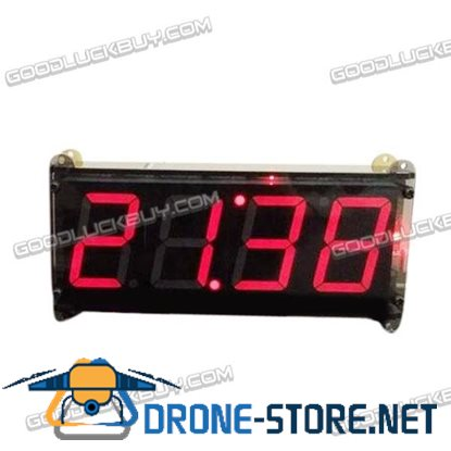 "1.8"" LED 4bit Red Digital Clock USB Interface Acrylic Case 10-Groups Alarm"