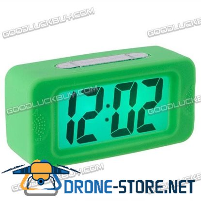 Large LCD Display Alarm Clock Silicone Frame Green E0716