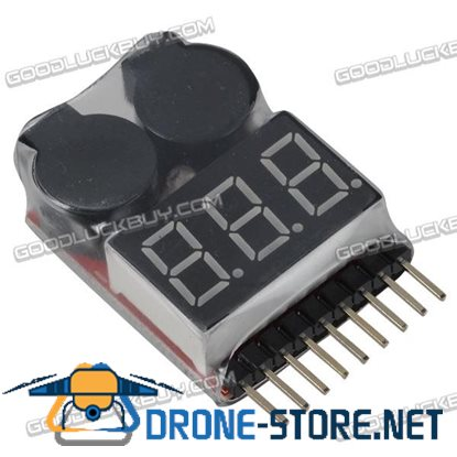 1-8S Lipo Battery Voltage Tester and Low Voltage Buzzer Alarm