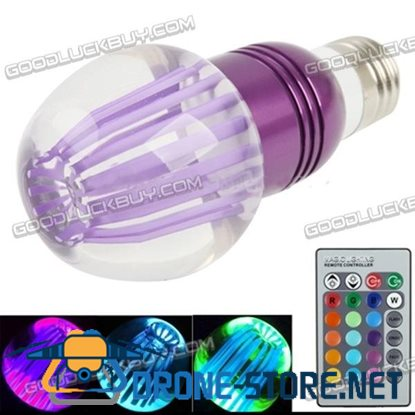 E27 3W Crystal Glass Umbrella RGB LED Light Bulb with Remote Controller AC 85-265V