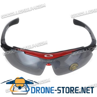 Bicycle Motorcycle Eyewear Windproof Outdoor Goggles Sunglasses with 4 pcs Spare Lens
