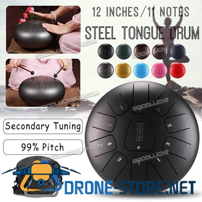 12'' Steel Tongue Drum Handpan CMajor 11Notes Hand Tank Drum + Bag Mallets Music