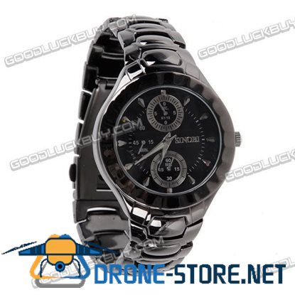 Stainless Steel Quartz Wrist Watch Men Gift Waterproof Black 3595