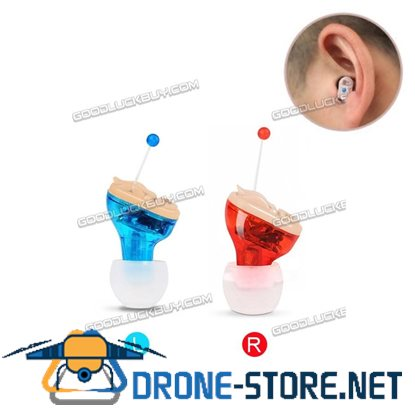 2Pcs Invisible Adjustable Hearing Aid Sound Voice Amplifier Enhancer Mini Blue+Red