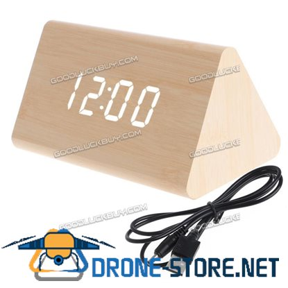Wooden Voice Control LED Display Alarm Digital Triangular Desk Clock Thermometer Bamboo