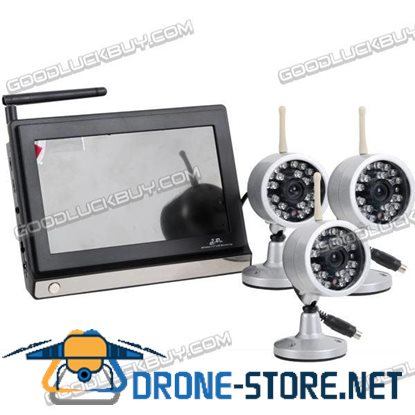 2.4GHz Wireless NTSC CMOS 3 Camera & 7 inches Baby Monitor Security System