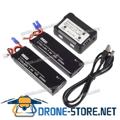 2pcs 7.4V 2700mAh Round Plug Battery with Charger for Hubsan H501S RC Quad