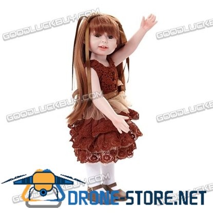 "18"" Reborn Baby Doll Long Hair Girl Likelife Baby Toys Newborn Toddler Kids Gift"