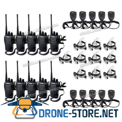 10x Walkie Talkie Retevis H777 UHF 16CH 2-Way Radio+10x Earpiece+ 10x PTT Mic