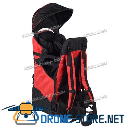 Baby Hiking Backpack Child Kid Toddler Carrier w/ Stand Sun/Rain Canopy Shield Red