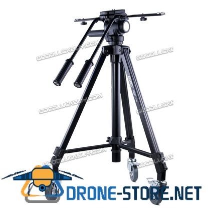 FOTOMATE 7005D Pro Video Tripod Double Handle Fluid Pan Head for Camcorder camera