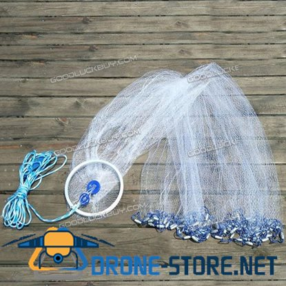 10ft 3m Cast Net Quick Throw Mono Nylon Mesh Drawstring Chain Bottom Spread w/ Ring
