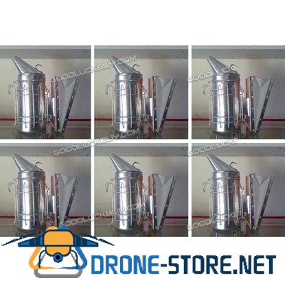 6Pcs Bee Hive Smoker Stainless Steel with Heat Shield Beekeeping Equipment