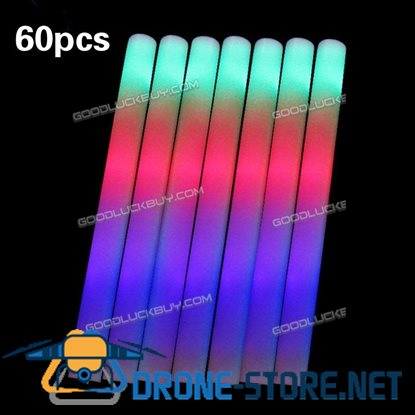 60PCS Light-Up Foam Sticks LED Rally Rave Cheer Tube Soft Glow Baton Wands
