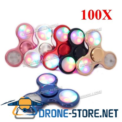 100X Tri-Spinner RGB LED Anti Stress Lighting Hand Fidget Finger Transparen EDC Toy