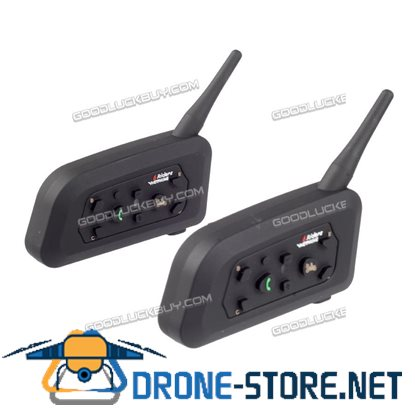2pcs V6 1200M Motorcycle Helmet Bluetooth Intercom Headset 6 Riders Interphone USB