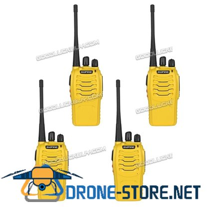 4x Baofeng BF-888S Walkie Talkie Long Range 2 way Radio UHF 400-470MHZ 16CH Earpiece Yellow