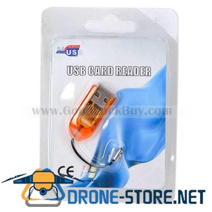Smallest MicroSD TransFlash USB Card Reader with Cover (Yellow)