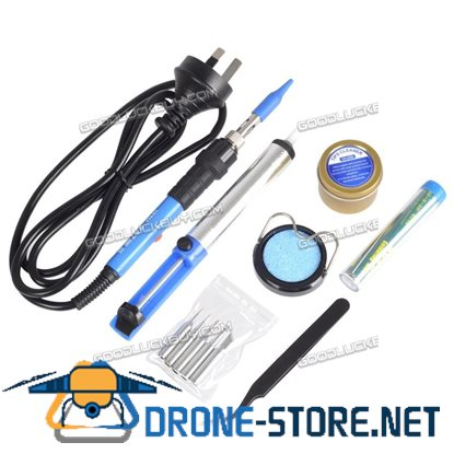 12 In1 60W Soldering Iron 6 Tips Welding Kit Tool Stand Pump Lead Free Power Switch