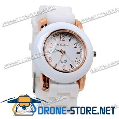 Fashional Knitted Silicone Belt Wrist Watch Round Face (White) 9659