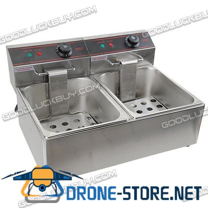 Commercial DOUBLE Electric Deep Fryer 2X5.5L 5000W