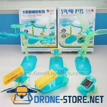 6 In 1 DIY Educational Robot Plane Airboat Puppy Car Kit Solar & Battery