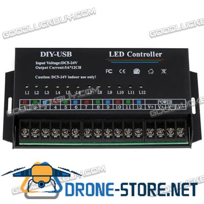 12-Channel 720W12V-M12Q-USB DIY Programming Controller for LED Lighting Control