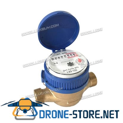 "15mm 1/2"" Home and Garden Water Flow Measuring Meter Copper Cold Dry Counter"