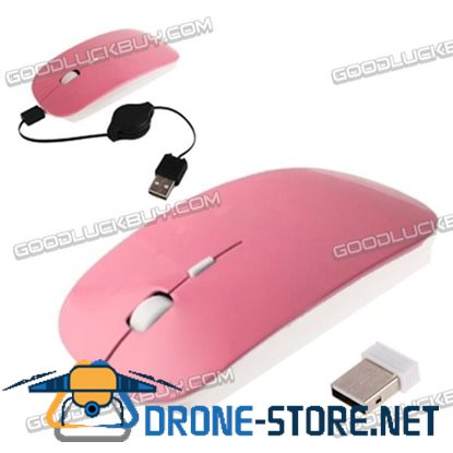 2.4GHz Wireless Optical Mouse with USB Mini Receiver & USB Retractable Cable Pink