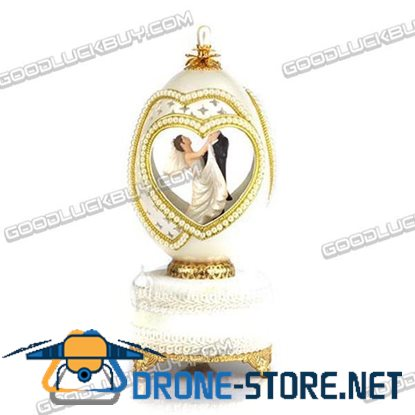Decorated Real Goose Egg Wedding Bride & Groom Musical Music Box Gift 201-9A