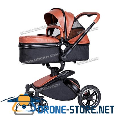 New Baby Stroller 2 in 1 Leather Carriage Infant Travel Foldable Pram Pushchair Brown