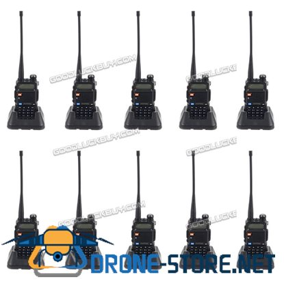 Baofeng UV-5R V/UHF 136-174/400-520M Dual-Band Two-way Ham Radio Walkie Talkie 10pcs