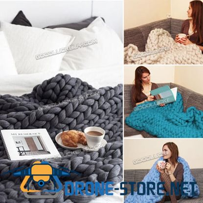 120*150cm Handmade Chunky Knitted Blanket Wool Thick Line Yarn Acrylic Fibre Multicolor
