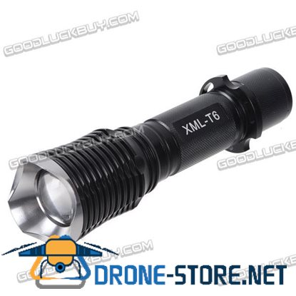 C05T6-6 CREE T6 LED Light Bulb 1200lm Aluminum Alloy Rechargeable Flashlight Torch 5-Mode Black