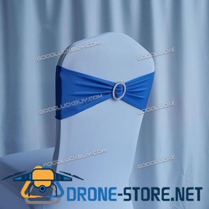 100Pcs Spandex Wedding Party Chair Cover Band Sashes with Buckle Bow Slider Blue