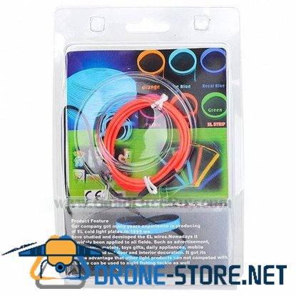 1m EL Wire Pink Neon Cold Light Strip String with 2AA Battery Inverter