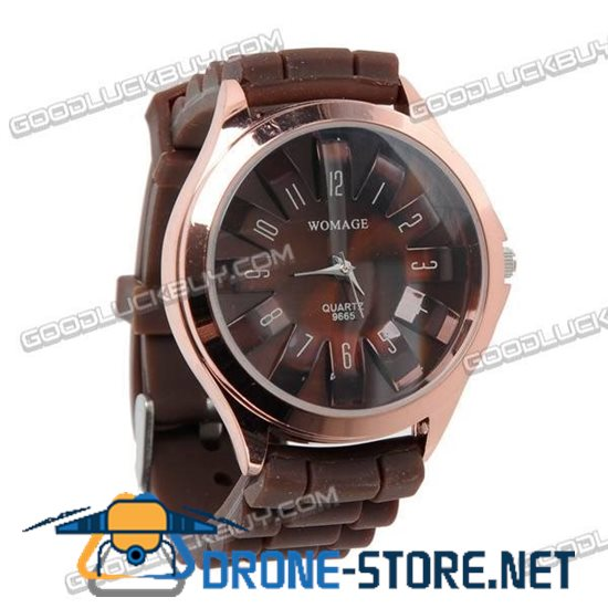 Stylish Knitted Silicone Belt Wrist Watch Round Face (Brown) 9665