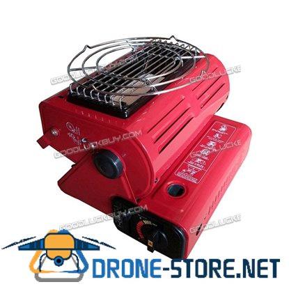 1300W Portable Outdoor Barbecue Gas Heater Adjustable BBQ Grill Grille for Camping Red