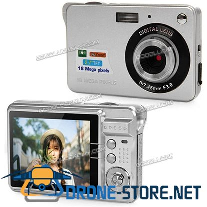 "2.7"" Amkov LCD Mini Full HD 18MP Digital Camera Video Recorder DV Cam Silver"
