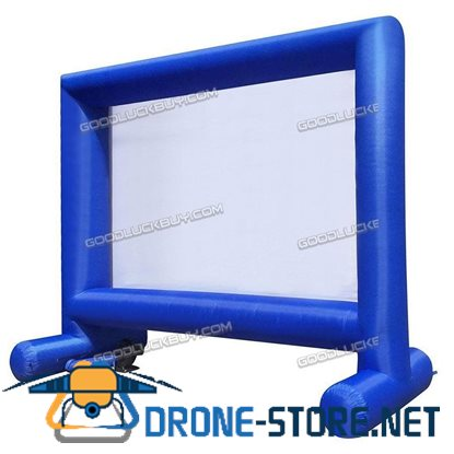 3.7*5M 14 Ft Inflatable Mega Movie Screen for Outdoor Parties Includes Storage Blue