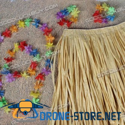 Hawaii Hula Luau Skirt Lei Outfit Floral Grass Fancy Costume for Adult