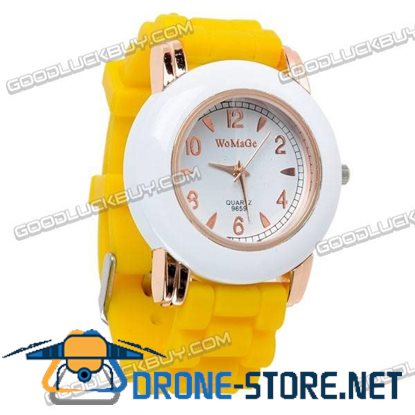 Fashional Knitted Silicone Belt Wrist Watch Round Face (Yellow) 9659